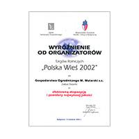 """Wyróżnienie na targach """"Polska Wieś 2002"""""""